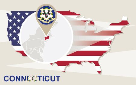 yale: USA map with magnified Connecticut State. Connecticut flag and map.