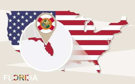 fl: USA map with magnified Florida State. Florida flag and map. Illustration