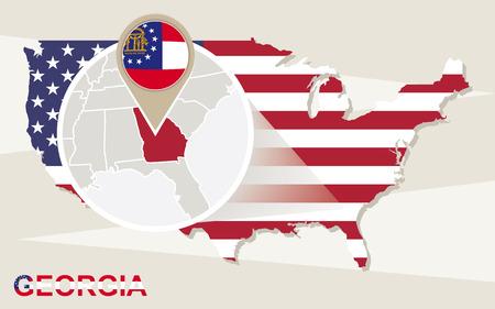 georgia: USA map with magnified Georgia State. Georgia flag and map.