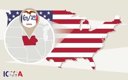 magnified: USA map with magnified Iowa State. Iowa flag and map.