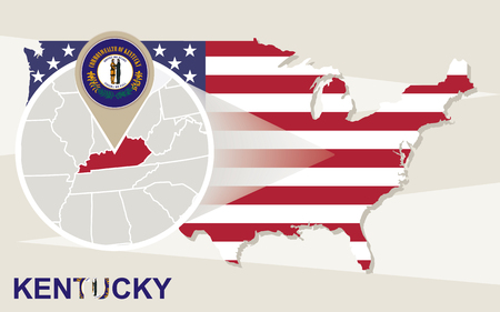 louisville: USA map with magnified Kentucky State. Kentucky flag and map.