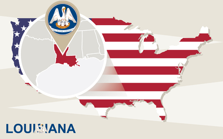 creole: USA map with magnified Louisiana State. Louisiana flag and map. Illustration