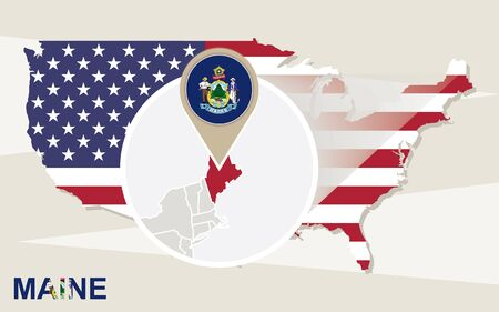 maine: USA map with magnified Maine State. Maine flag and map.