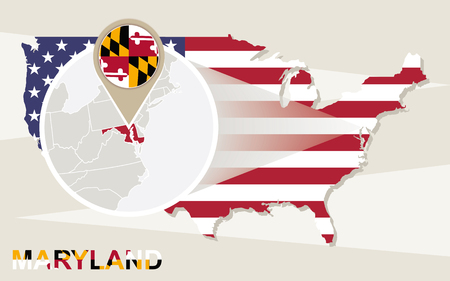 magnified: USA map with magnified Maryland State. Maryland flag and map.