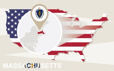 magnified: USA map with magnified Massachusetts State. Massachusetts flag and map.
