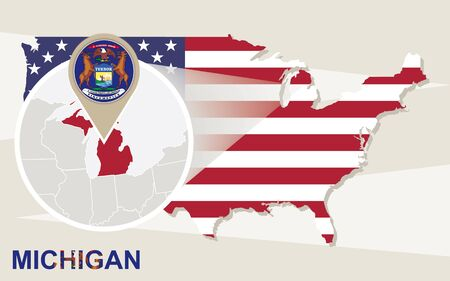 the great lakes: USA map with magnified Michigan State. Michigan flag and map.