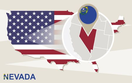 carson city: USA map with magnified Nevada State. Nevada flag and map. Illustration