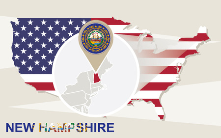 hampshire: USA map with magnified New Hampshire State. New Hampshire flag and map. Illustration