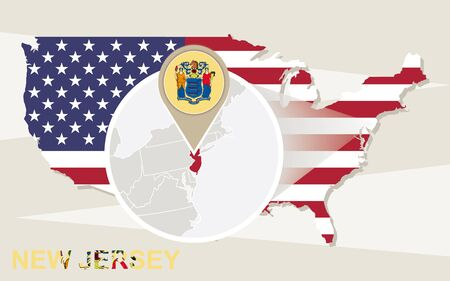 magnified: USA map with magnified New Jersey State. New Jersey flag and map.