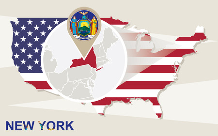 new york state: USA map with magnified New York State. New York flag and map.