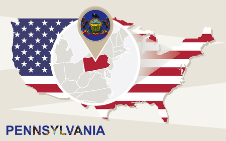 keystone: USA map with magnified Pennsylvania State. Pennsylvania flag and map.