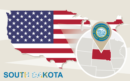 magnified: USA map with magnified South Dakota State. South Dakota flag and map. Illustration