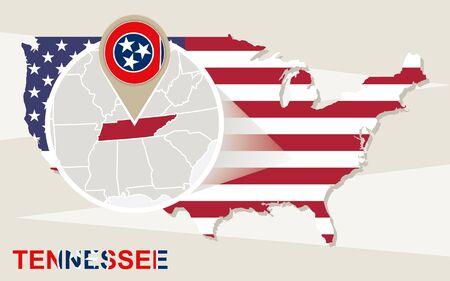 tennesse: Mapa de EE.UU. con magnificada del estado de Tennessee. bandera de Tennessee y mapa.