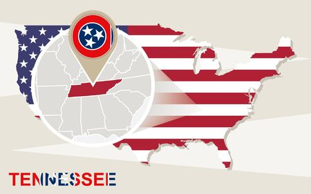 magnified: USA map with magnified Tennessee State. Tennessee flag and map. Illustration