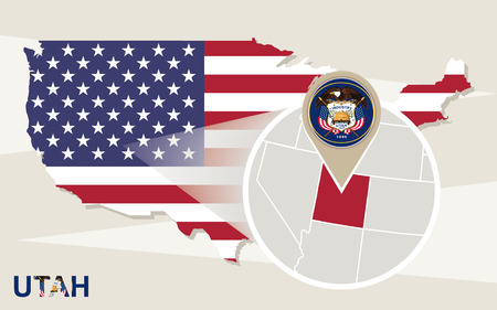 mormon: USA map with magnified Utah State. Utah flag and map.
