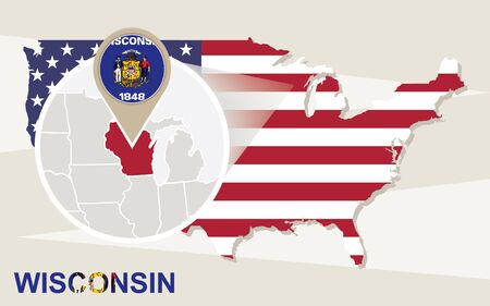 wisconsin flag: USA map with magnified Wisconsin State. Wisconsin flag and map.