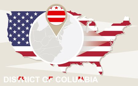 district': USA map with magnified District of Columbia. District of Columbia flag and map.