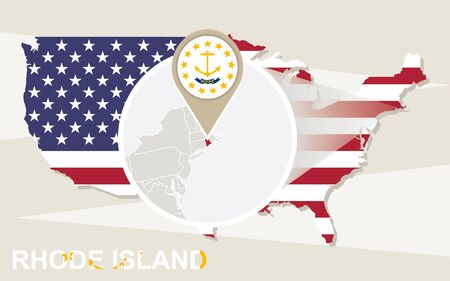 island state: USA map with magnified Rhode Island State. Rhode Island flag and map.