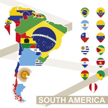 länder: Südamerika Karte mit Fahnen, Südamerika Karte mit ihrer Flagge gefärbt. Vektor-Illustration.