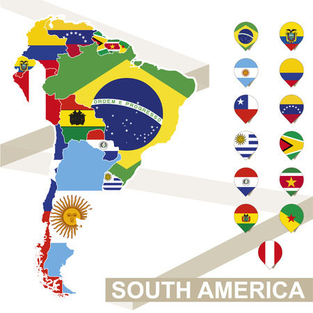 latin  america: South America map with flags, South America map colored in with their flag. Vector Illustration.