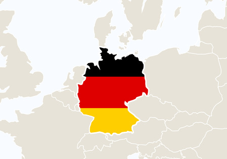 stuttgart: Europe with highlighted Germany map. Vector Illustration.