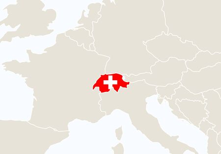 world flag: Europe with highlighted Switzerland map. Vector Illustration.