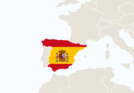 spain map: Europe with highlighted Spain map. Vector Illustration.