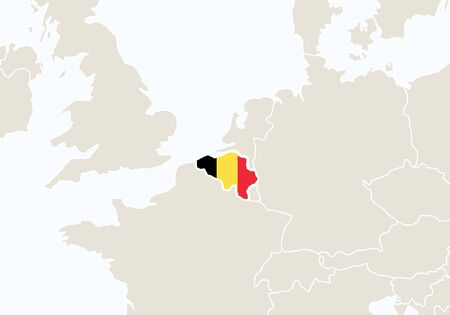 gent: Europe with highlighted Belgium map. Vector Illustration.