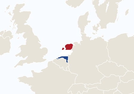 netherlands map: Europe with highlighted Netherlands map. Vector Illustration. Illustration