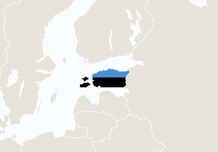 estonia: Europe with highlighted Estonia map. Vector Illustration.