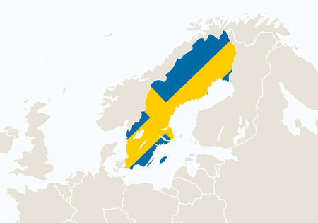 sweden map: Europe with highlighted Sweden map. Vector Illustration.