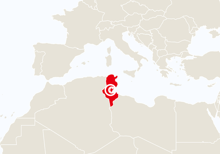 Africa with highlighted Tunisia map. Vector Illustration.