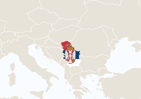 highlighted: Europe with highlighted Serbia map. Vector Illustration. Illustration