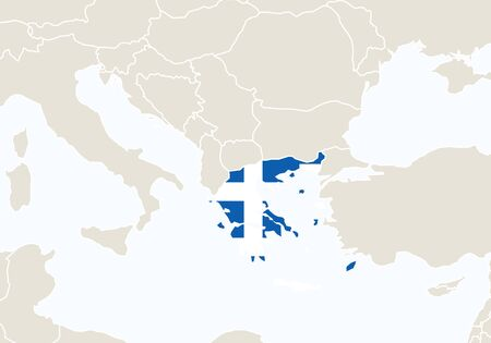 Europe with highlighted Greece map. Vector Illustration.