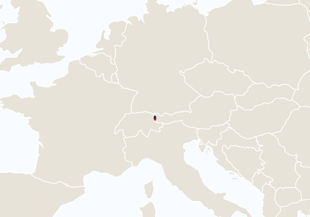 highlighted: Europe with highlighted Liechtenstein map. Vector Illustration. Illustration