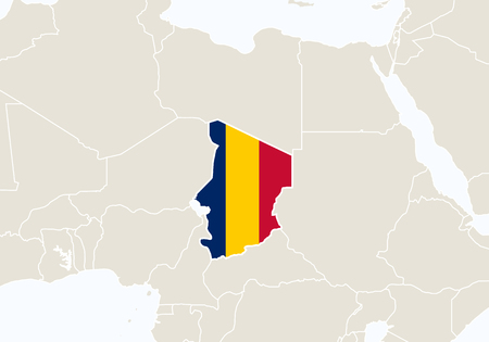 Africa with highlighted Chad map. Vector Illustration.