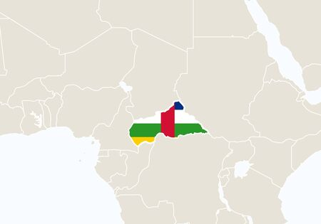 central african republic: Africa with highlighted Central African Republic map. Vector Illustration. Illustration