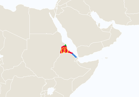 eritrea: Africa with highlighted Eritrea map. Vector Illustration.