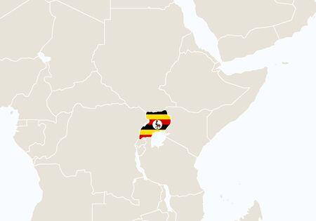 uganda: Africa with highlighted Uganda map. Vector Illustration. Illustration