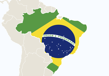 south america: South America with highlighted Brazil map. Vector Illustration.