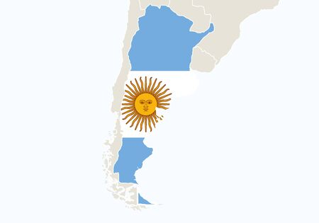 argentina map: South America with highlighted Argentina map. Vector Illustration.