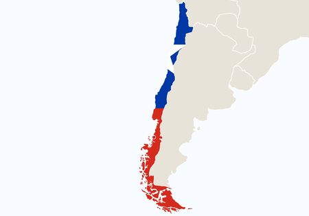 South America with highlighted Chile map. Vector Illustration.