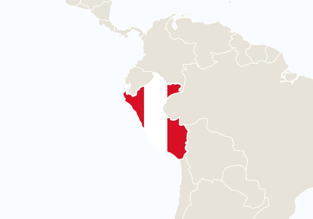 peru: South America with highlighted Peru map. Vector Illustration.
