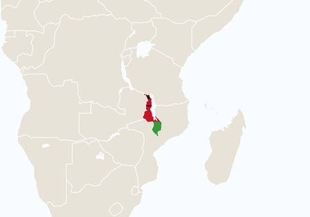 malawian flag: Africa with highlighted Malawi map. Vector Illustration.