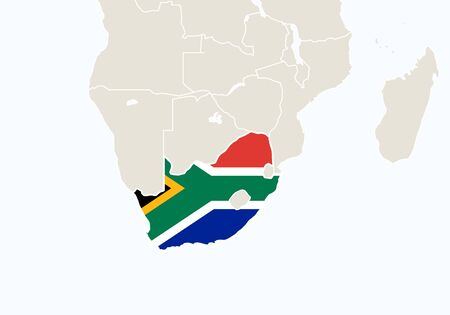 south africa map: Africa with highlighted South Africa map. Vector Illustration.