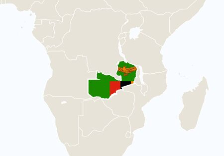 zambia: Africa with highlighted Zambia map. Vector Illustration.