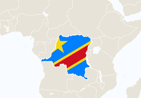 Africa With Highlighted Democratic Republic Of The Congo Map ...
