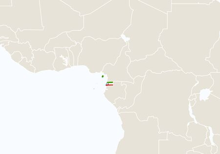 geography background: Africa with highlighted Equatorial Guinea map. Vector Illustration.
