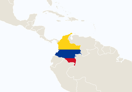 South America with highlighted Colombia map. Vector Illustration.