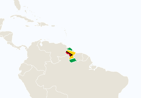 guyanese: South America with highlighted Guyana map. Vector Illustration.